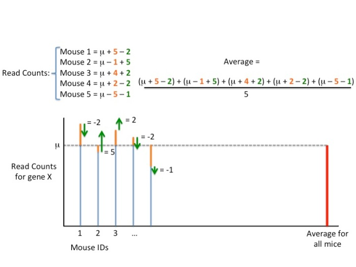 This figure shows how technical variation can increase or decrease the read counts we get for each sample.