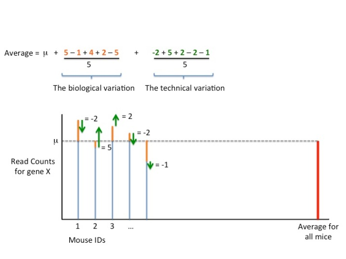 This last figure shows how the biological and technical variation can be separated into separate terms. Each of these terms goes to zero as we add more biological replicates.